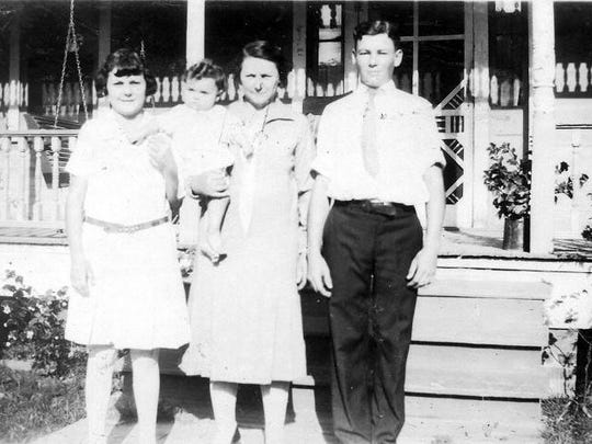 Agatha Dupre Lafleur with her daughter Antonia Lafleur (my mom) and her son Father Joseph Verbis Lafleur at their home in Opelousas in the 1920s.