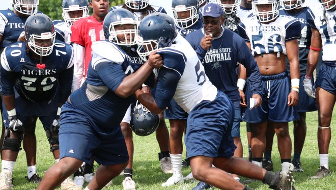 With head coach Tony Hughes looking on, Jackson State players went head to head in pads for the first time this fall on Monday, August 6, in Jackson.