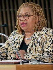 Wilmington City Council member Hanifa Shabazz speaks