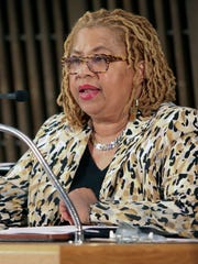 Wilmington City Council member Hanifa Shabazz speaks during a meeting on implementing recommendations from the CDC on gun violence.