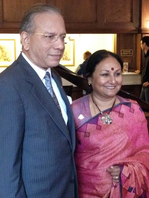 Rotary International President K. R. Ravindran and his wife, Vanathy, pose for a picture Wednesday, May 18 at the Yorktowne Hotel. (Photo by David Weissman)