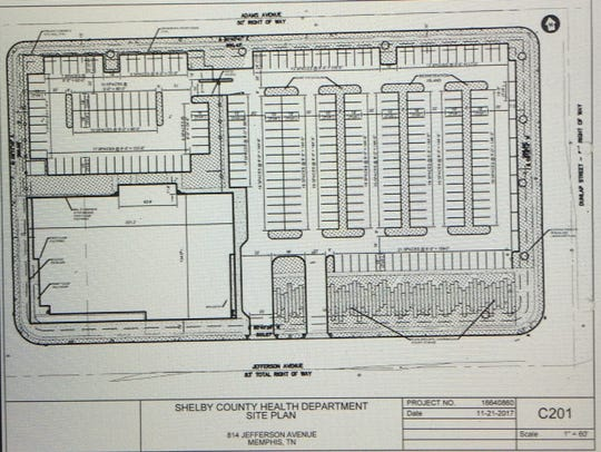 Proposed site plan for the Health Department facilities.