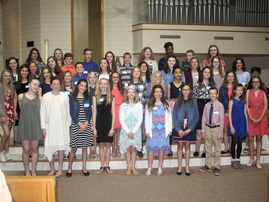 Pictured are the South Lyon middle school students who were honored on Monday.