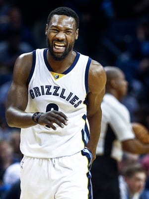 Memphis Grizzlies guard Tony Allen reacts to an officials foul call on him during action against Oklahoma City Thunder at the FedExForum.