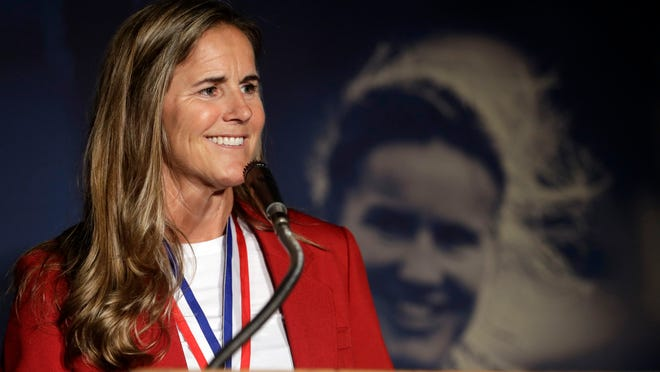 Brandi Chastain speaks during an induction ceremony for the National Soccer Hall of Fame on Friday, March 24, 2017, in San Jose, Calif. (AP Photo/Marcio Jose Sanchez)