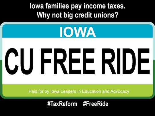 This is a copy of a digital ad funded by the Iowa Bankers Association seeking equal taxation on nonprofit credit unions.