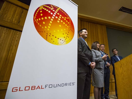 GlobalFoundries' Janette Bombardier, second from left,