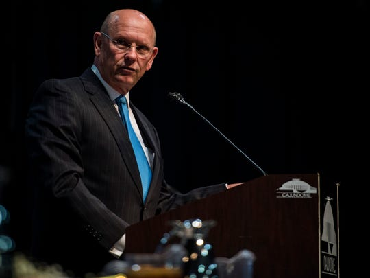Lafayette City-Parish President Joey Durel delivers his final State of the Parish address at the the Caundome Convention Center in Lafayette, LA, Wednesday, Feb. 11, 2015.