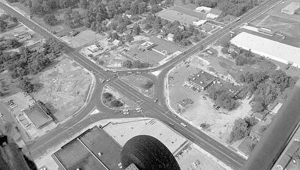 "The circle at Landis Avenue and Delsea Drive as it looked in 1970, the year Delsea Drive was widened and cut through the circle?s center, creating what traffic officials at the time described as a ""semi-circle."""