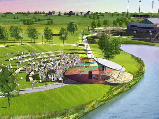 An amphitheater overlooking the West Des Moines Civic Campus pond is part of the city's 10-year, $32 million parks improvement plan.