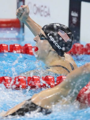 Katie Ledecky (USA) reacts during the Rio Olympics.