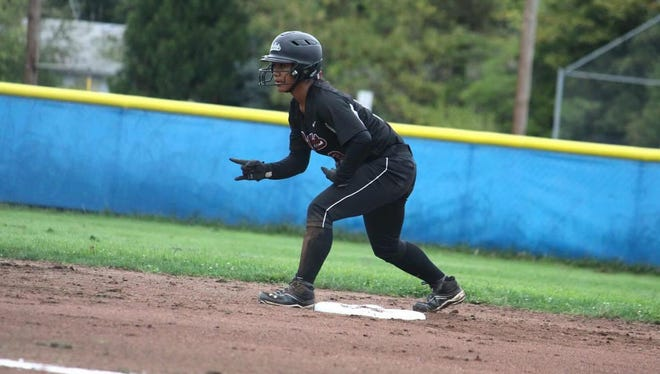 Anna Aguon is ready to advance on the basepaths for the Bullets Northwest, a traveling softball team.