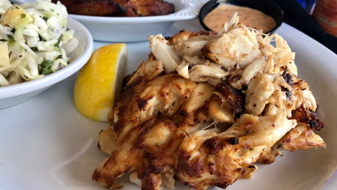 A 6-ounce Maryland-style crab cake from FINS Seafood & Dive Bar in Cape Coral.