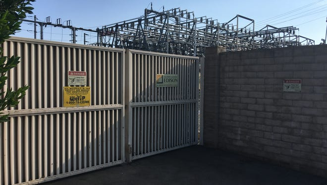 The Southern California Edison substation at the corner of Tapo Canyon Road and Cochran Street in Simi Valley. Edison says animals and birds coming into contact with energized equipment there was likely the cause of a rash of brief but frequent power outages that many residents complained about. Edison says mitigation measures it has taken have ended the blackouts.
