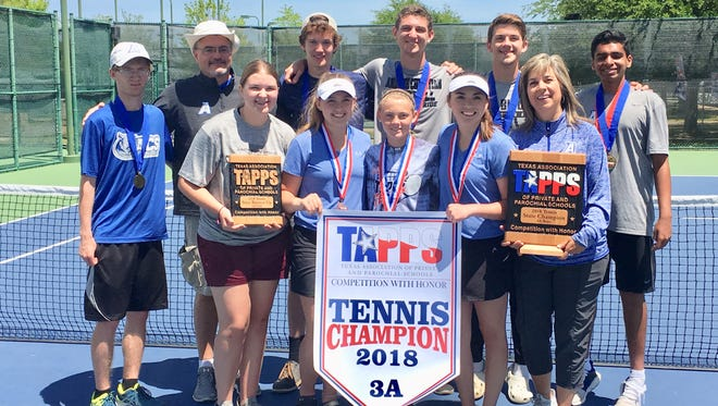 Abilene Christian High School tennis players pose with their trophies after winning the Texas Association of Private and Parochial Schools state tournament April 18-19 in Waco.