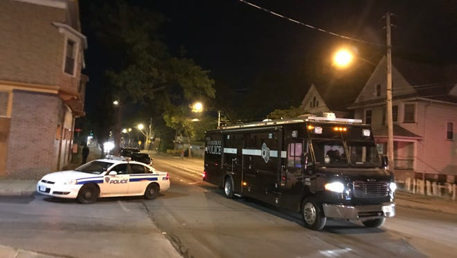 The Rochester Police Department's mobile command unit on scene of a shooting on Hudson Avenue on July 7, 2018.