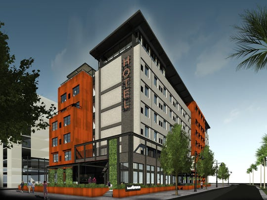 Rendering of Indigo Hotel, a trendy boutique hotel slated for the Gaines Street District.