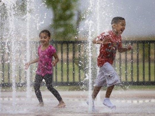 WEST VALLEY: GATEWAY PARK | The splash area here includes pop-up jet fountains, multicolored lights at night. The park also has a shaded playground, skate park, concessions and a dog park. The splash pad is open from May to October. | DETAILS:  8 a.m.-8 p.m. daily, May-October. 10100 N. El Mirage Road, El Mirage. Free. 623-935-6405, cityofelmirage.org.
