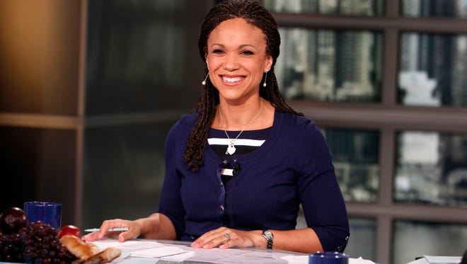 In this Feb. 18, 2012, photo, provided by MSNBC, Melissa Harris-Perry appears on the set of her self-titled show in New York. The National Association of Black Journalists expressed concerns about MSNBC's diversity record in the wake of the noisy exit of weekend host Harris-Perry. The network said Thursday, March 3, 2016, that it is proud of its diversity effort and noted that people of all ethnicities have seen their roles reduced or eliminated as part of a transition to more breaking news coverage.