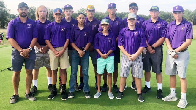 The 2020 Fowler High School boys golf team. Back row, from left, Aaron Hildreth, Ty Pieper, Blake Buchner, Braxton Bates, Jakob Manchego and Gabriel Proctor. Front row, from left, coach Bryant McCuistion, Conagher Briggs, Luke Gonzales, manager Hagen McCuistion, Harrison Proctor and Liam Griffy.
