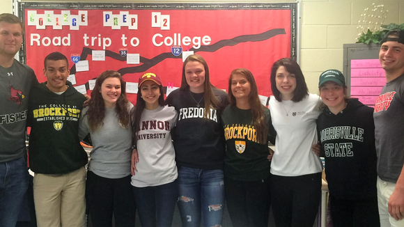 Photo caption: Chris Sodoma, Joey Williams, Erica Wilson, Cassidy Natoli, Paige Bauch, Nadia Danesi, Morgan Diedrick, Lexi Firkins, Austin Myers celebrate Senior Decision Day at Brockport High School. provided photo