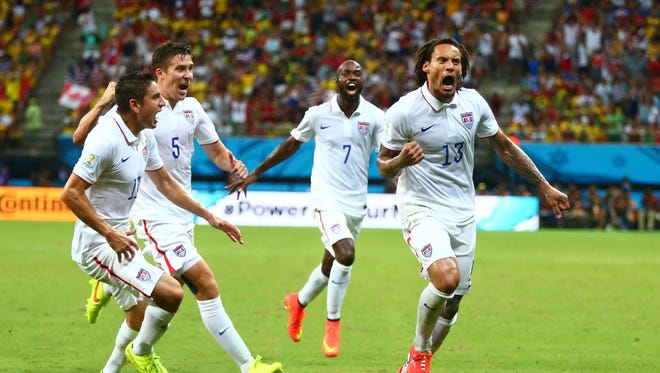 USA midfielder Jermaine Jones (13) celebrates after scoring a second half goal against Portugal during the 2014 World Cup at Arena Amazonia.