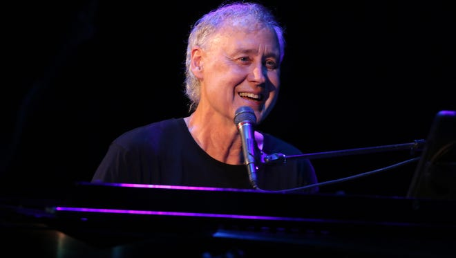 In the first song Wednesday night, Bruce Hornsby played alone, with his band members joining him in later songs.