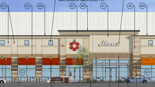Brookfield Square is proceeding with plans to develop new store and restaurant buildings. This rendering shows the view of new buildings in front of Boston Store, facing Moorland Road.