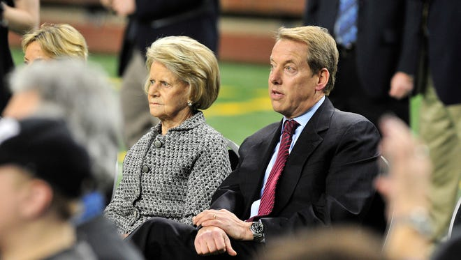 Martha Ford and Bill Ford Jr. are pictured at Jim Caldwell's introductory press conference in January 2014 at Ford Field.