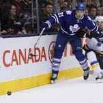 St. Louis Blues forward Troy Brouwer (36) keeps Toronto