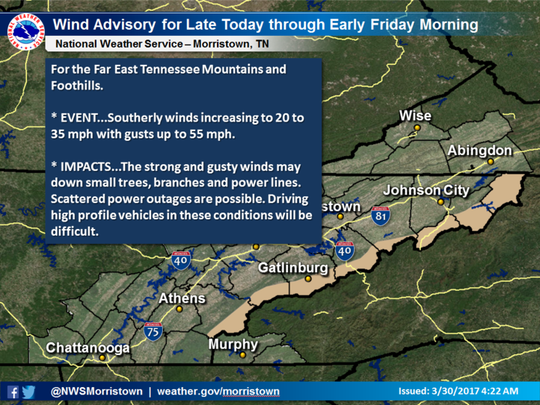 A wind advisory will be in effect for East Tennessee mountains and foothills until Friday morning.