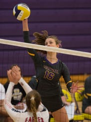 Fort Pierce Central's Brenna Tietz spikes the ball
