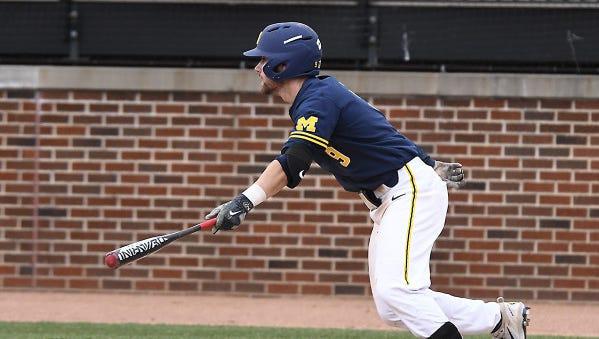 Michael Brdar had three hits and drove in Michigan's winning run.