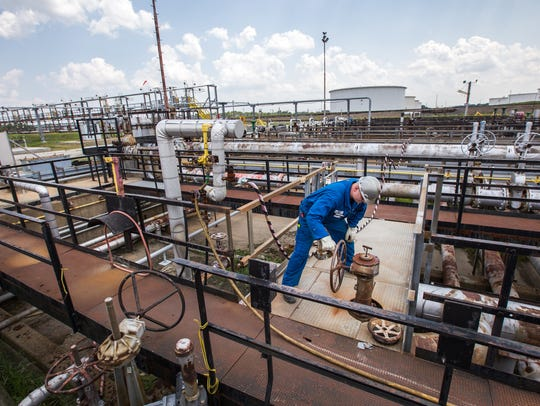 Mike Felker works at the Delaware City Refinery on