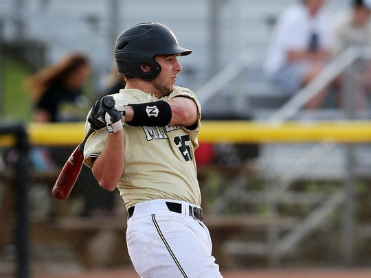 Noblesville's Bryce Masterson (25) bats against Zionsville, at Field of Dreams diamond, April 19, 2016.