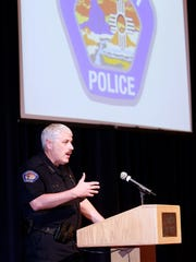 Chief Steve Hebbe speaks during a forum on use-of-force policies at the Farmington Police Department on Tuesday at the Farmington Civic Center.