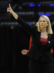 Maryland Terrapins head coach Brenda Frese reacts during their game against the Michigan State Spartans during the women's Big Ten Conference tournament at Bankers Life Fieldhouse.