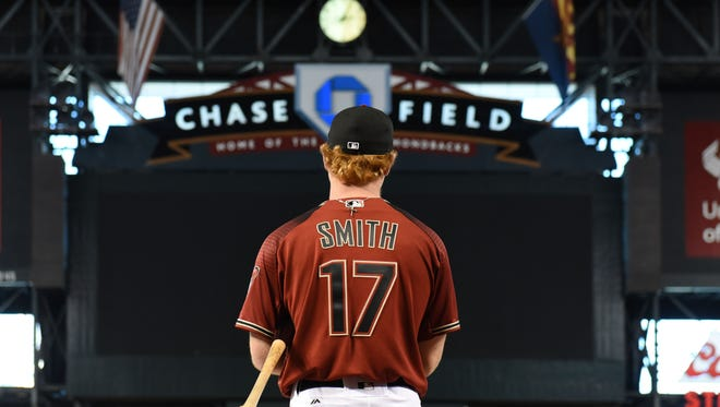 Pavin Smith #17 of the Arizona Diamondbacks takes batting practice for the MLB game against the Miami Marlins at Chase Field on September 23, 2017 in Phoenix, Arizona.
