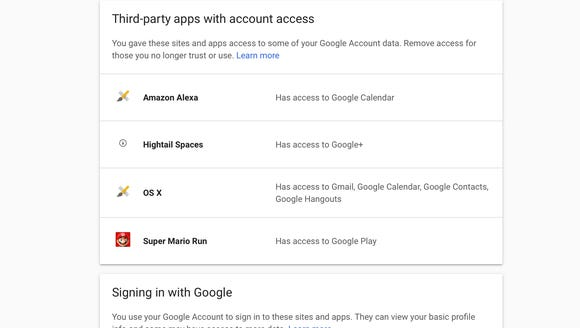 You can see which accounts are accessing your Google