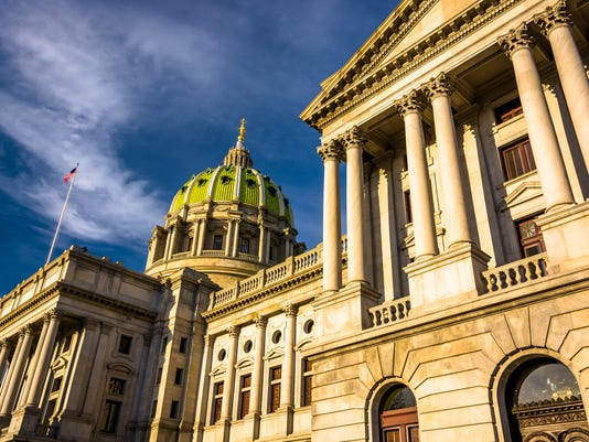 Evening light on the Pennsylvania State Capitol in Harrisburg, P