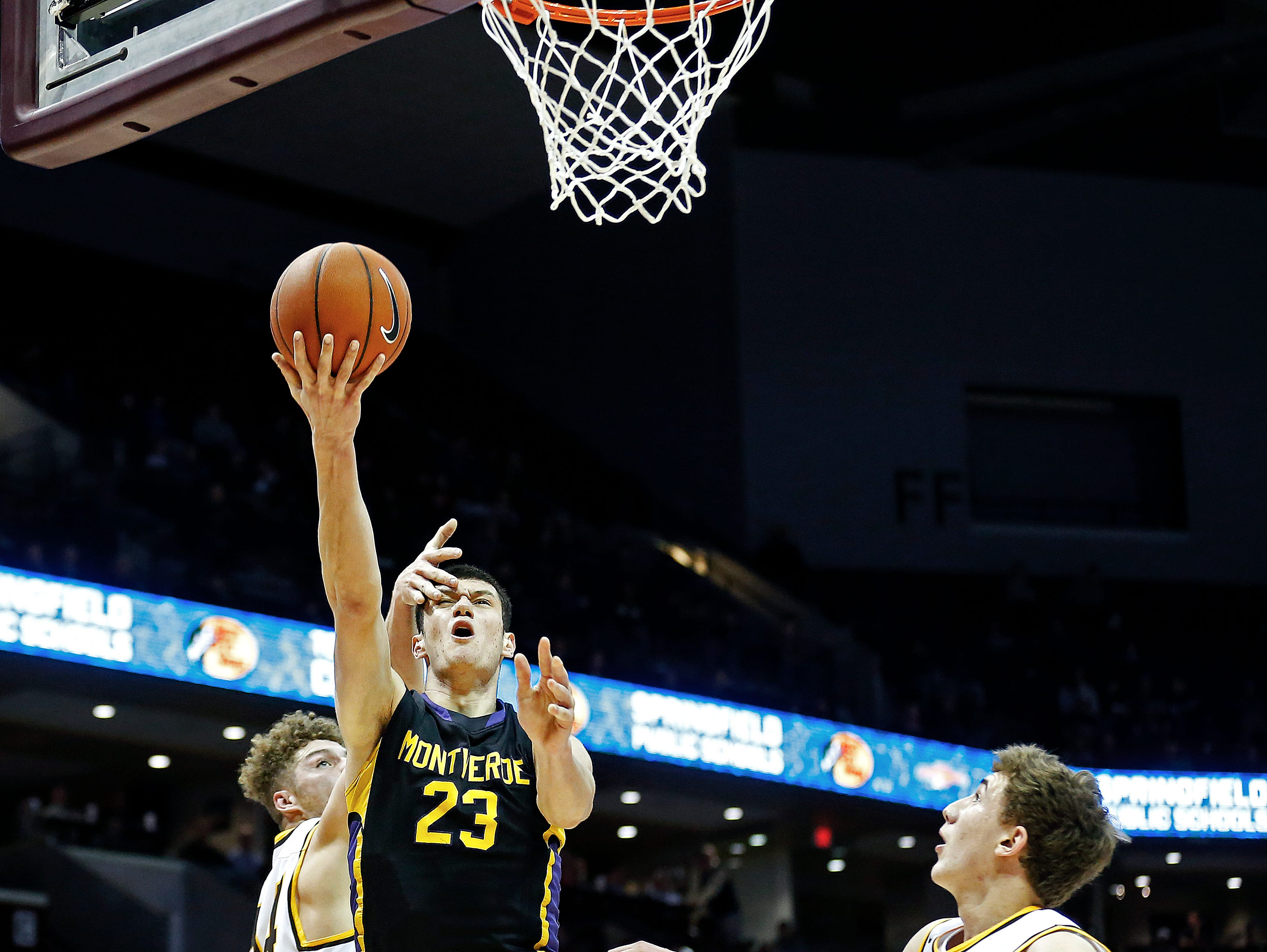 Montverde Academy Eagles (Montverde, Fla. forward Sandro Mamukelashvili (23) has a foul committed on him during second quarter action of the 2017 Bass Pro Tournament of Champions high school basketball game between the Kickapoo High School Chiefs (Springfield, Mo.) and the Montverde Academy Eagles (Montverde, Fla.) at JQH Arena in Springfield, Mo. on Jan. 12, 2017.