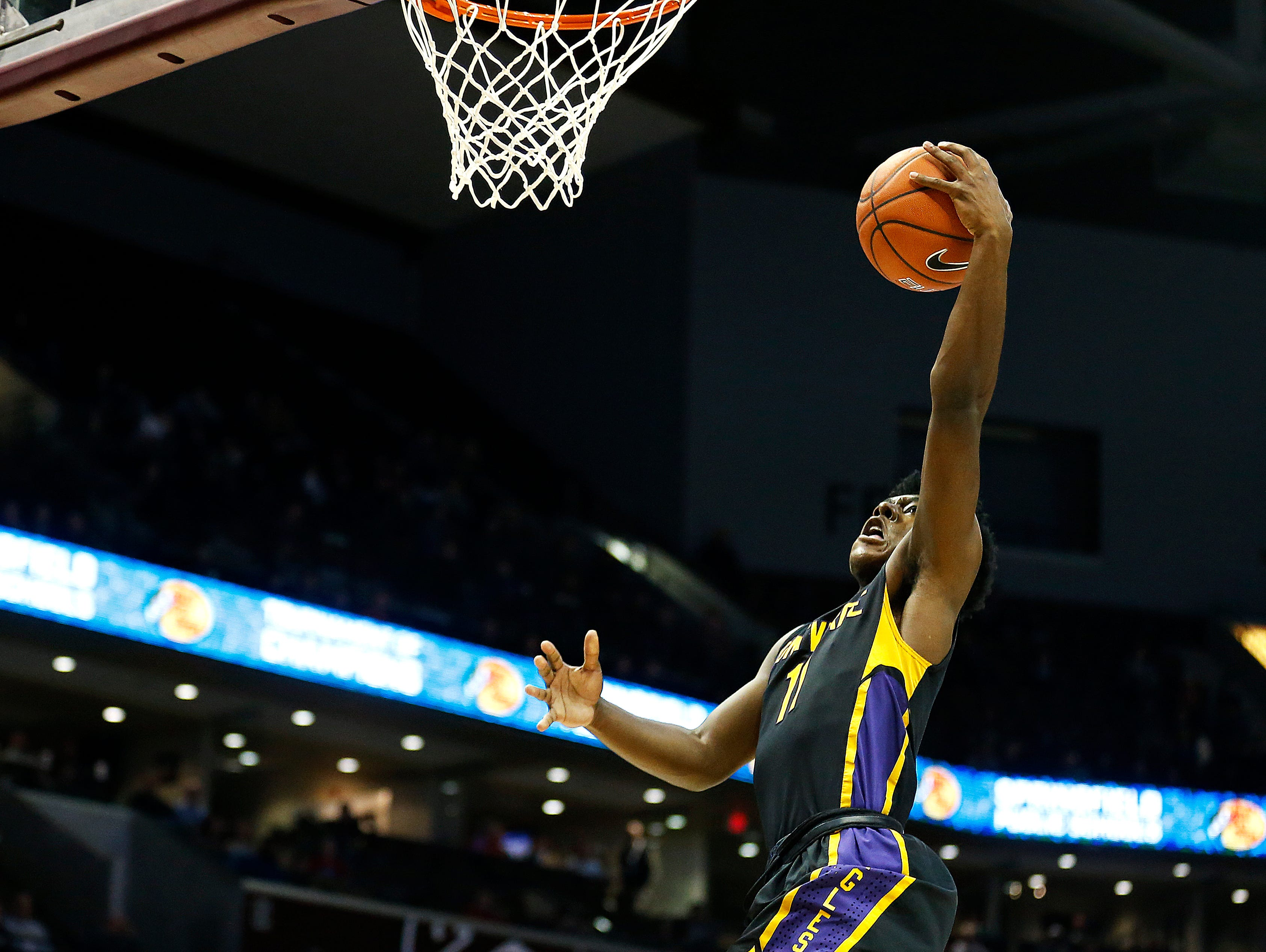 Montverde Academy Eagles (Montverde, Fla.) guard Marcus Carr (11) goes up for a shot during second quarter action of the 2017 Bass Pro Tournament of Champions high school basketball game between the Kickapoo High School Chiefs (Springfield, Mo.) and the Montverde Academy Eagles (Montverde, Fla.) at JQH Arena in Springfield, Mo. on Jan. 12, 2017.