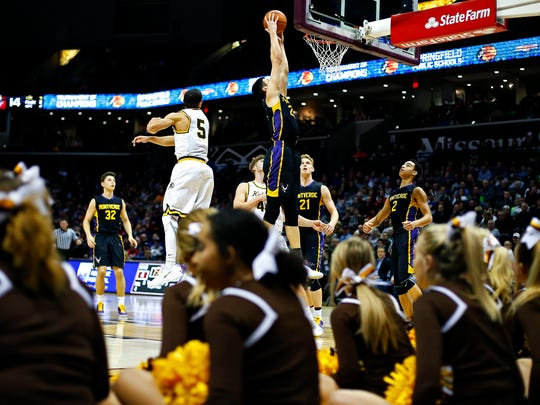 Montverde Academy Eagles (Montverde, Fla.) forward Sandro Mamukelashvili (23) dunks the ball during second quarter action of the 2017 Bass Pro Tournament of Champions high school basketball game between the Kickapoo High School Chiefs (Springfield, Mo.) and the Montverde Academy Eagles (Montverde, Fla.)  at JQH Arena in Springfield, Mo. on Jan. 12, 2017.