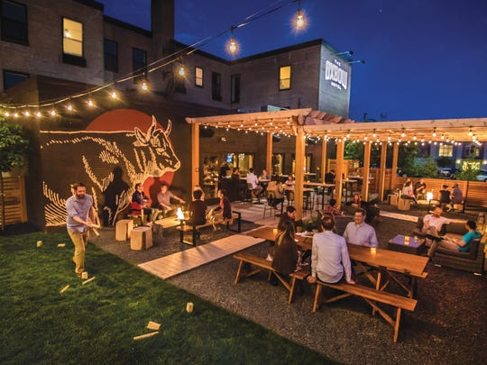 The Oxbow Hotel's restaurant, The Lakely, has a patio and outdoor space with fire pits.