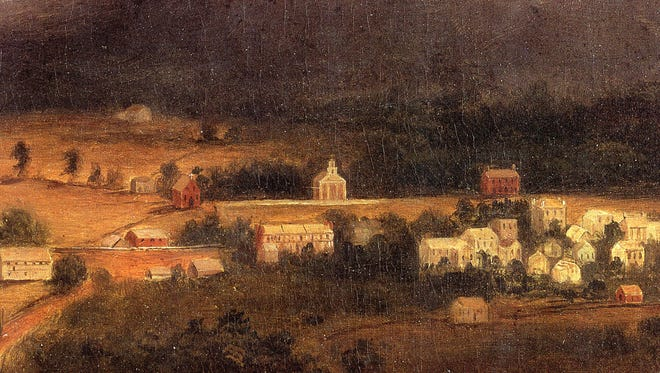 """A detail from Robert Duncanson's painting, """"View of Asheville, North Carolina, 1850,"""" from the cover of """"May We All Remember Well, Volume 1,"""" edited by Robert Brunk."""