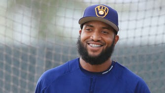 Domingo Santana wants to earn the job as the Brewers' rightfielder.