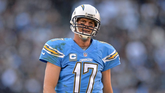 San Diego Chargers quarterback Philip Rivers (17) reacts during the fourth quarter against the Oakland Raiders at Qualcomm Stadium.