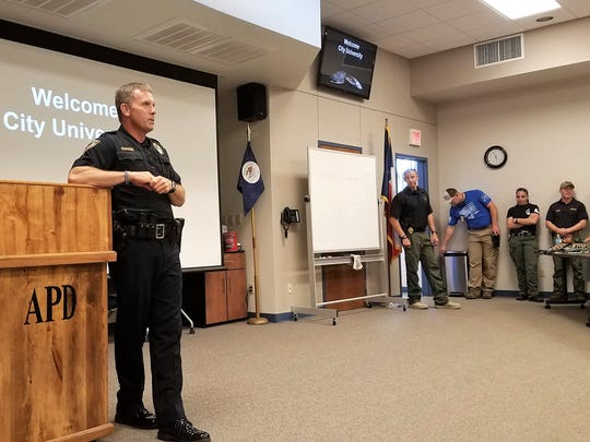Police Chief Stan Standridge shared insights and statistics with members of Abilene Academy Monday.