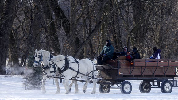 Troy Geis of McCrossan Boys Ranch leads Trixie and Tracy as they offer wagon rides Saturday in Spencer Park as part of Frosty Frolics in 2013.