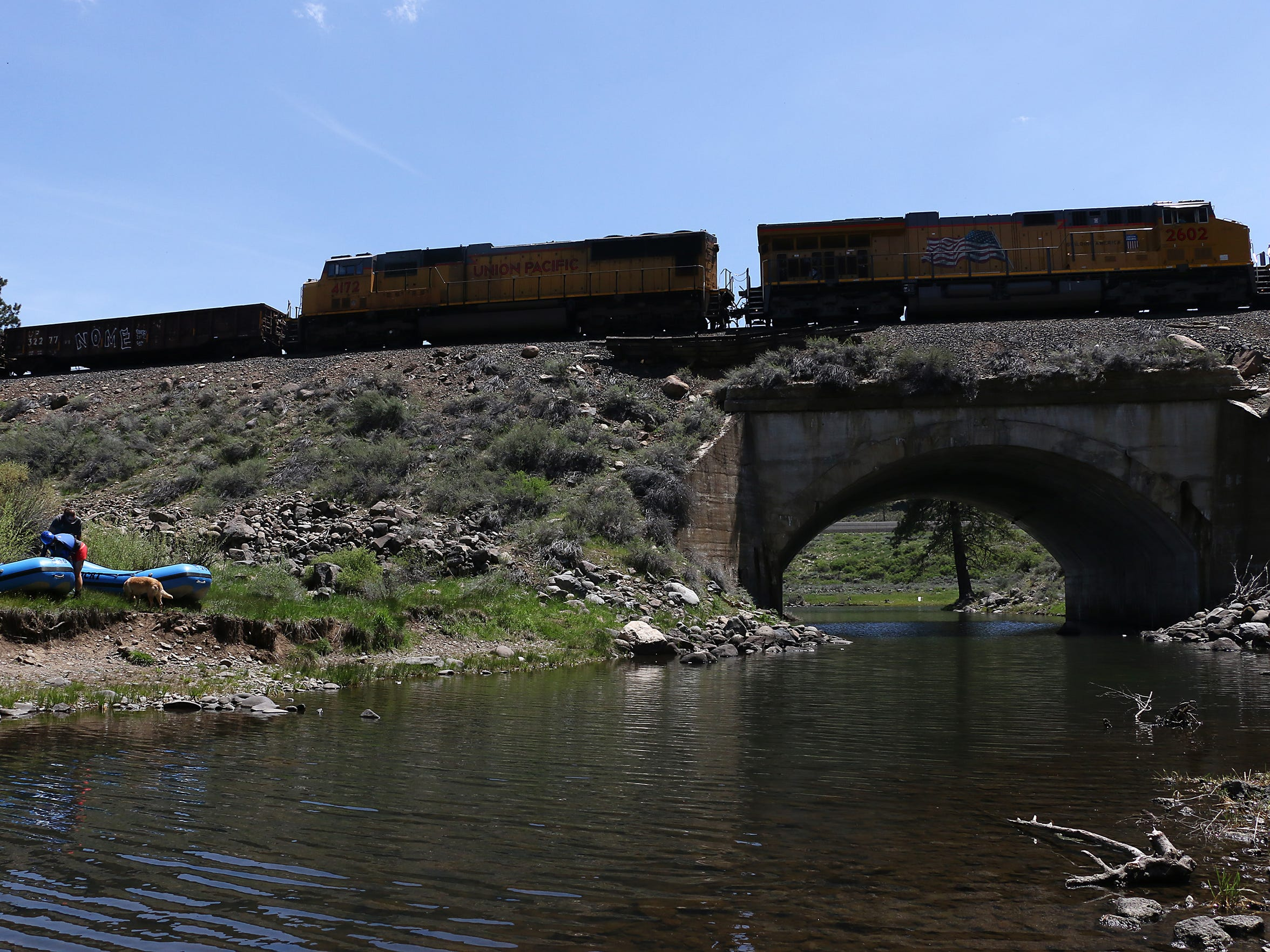 Railroad tracks parallel the Truckee River. RGJ reporters Ben Spillman and Jason Bean paddle the Truckee River from Truckee to Pyramid Lake during May of 2016.
